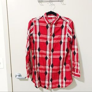 Woolrich Plaid Long Cotton Flannel Button Up Red S